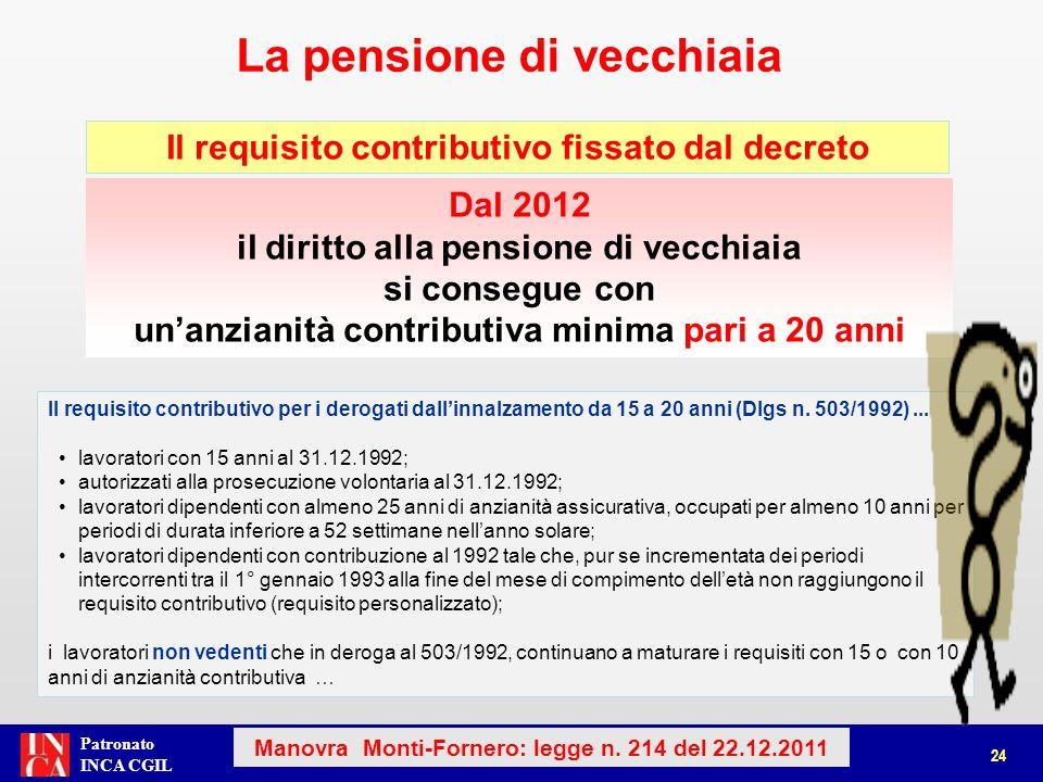 Patronato INCA CGIL La pensione di vecchiaia 24 Manovra Monti-Fornero: legge n. 214 del 22.12.2011 Dal 2012 il diritto alla pensione di vecchiaia si c
