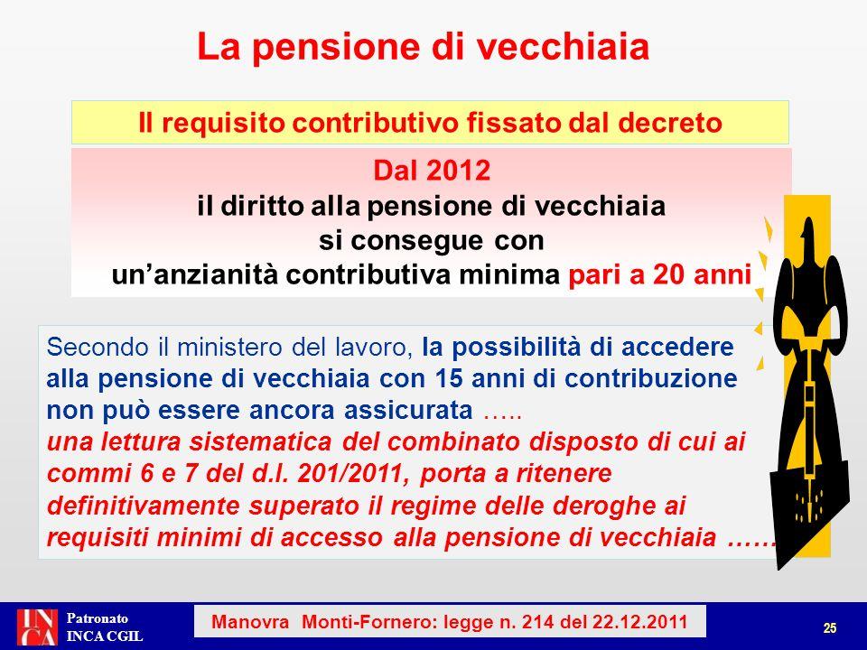 Patronato INCA CGIL La pensione di vecchiaia 25 Manovra Monti-Fornero: legge n. 214 del 22.12.2011 Dal 2012 il diritto alla pensione di vecchiaia si c
