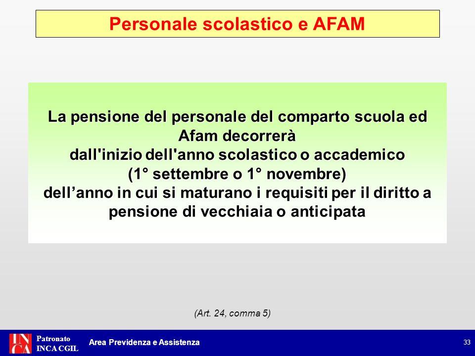 Patronato INCA CGIL Personale scolastico e AFAM 33 La pensione del personale del comparto scuola ed Afam decorrerà dall'inizio dell'anno scolastico o