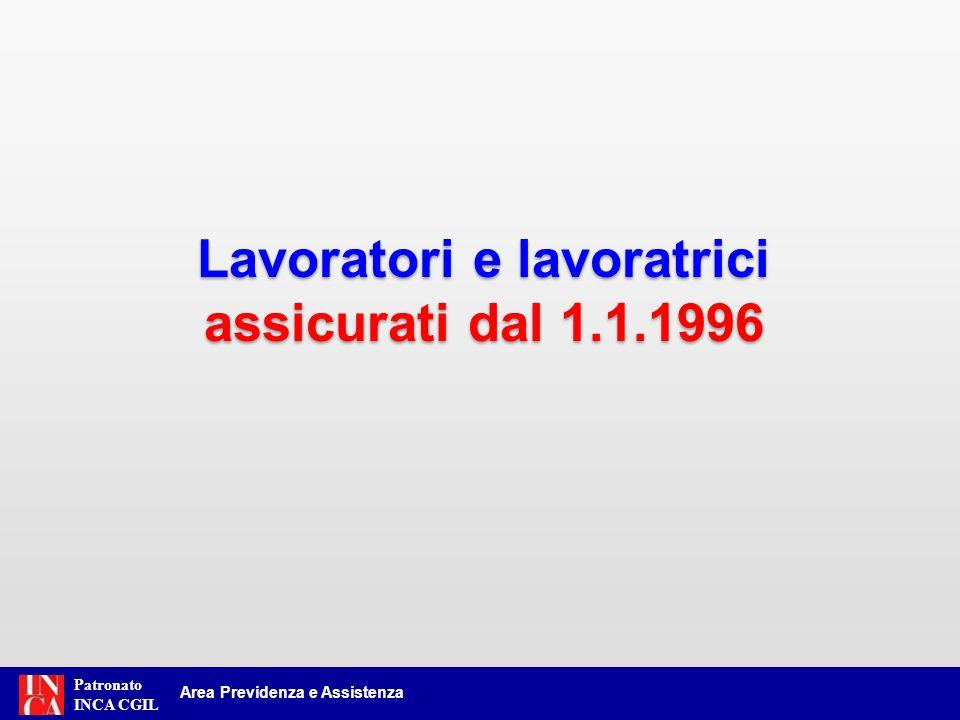Patronato INCA CGIL Area Previdenza e Assistenza Lavoratori e lavoratrici assicurati dal 1.1.1996 Lavoratori e lavoratrici assicurati dal 1.1.1996