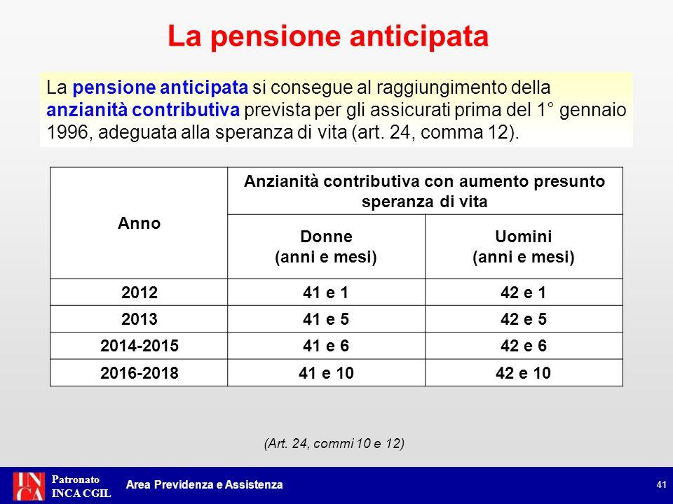 Patronato INCA CGIL La pensione anticipata si consegue al raggiungimento della anzianità contributiva prevista per gli assicurati prima del 1° gennaio