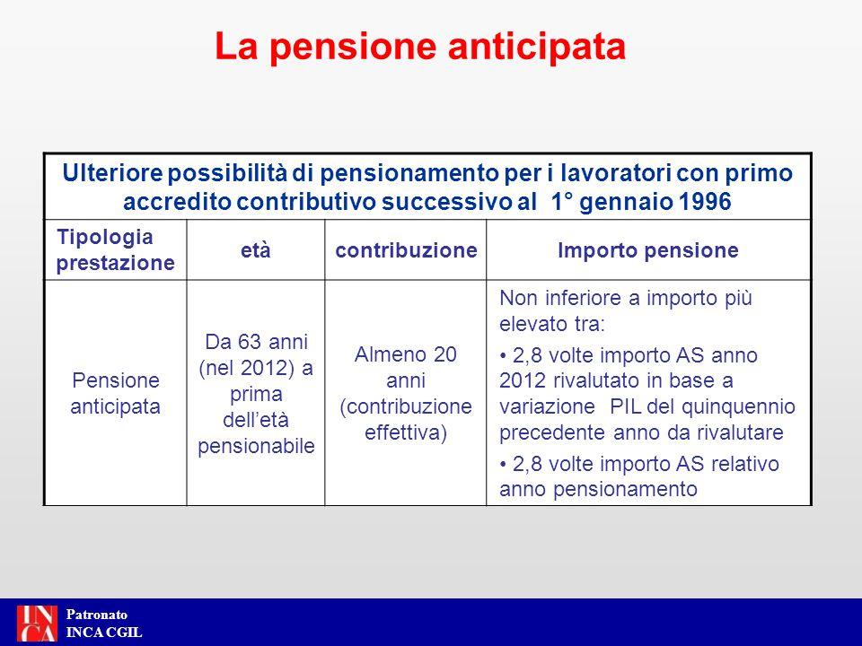 Patronato INCA CGIL Ulteriore possibilità di pensionamento per i lavoratori con primo accredito contributivo successivo al 1° gennaio 1996 Tipologia p