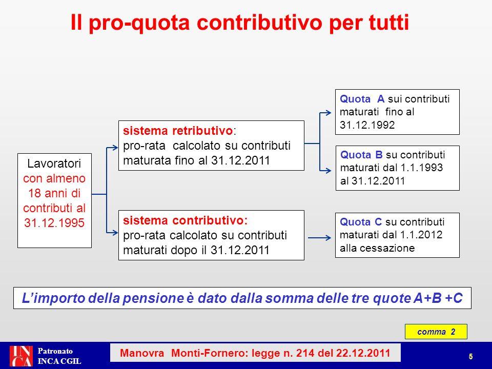 Patronato INCA CGIL 5 Il pro-quota contributivo per tutti sistema retributivo: pro-rata calcolato su contributi maturata fino al 31.12.2011 Quota B su