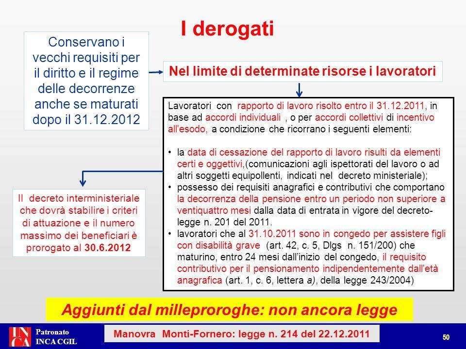 Patronato INCA CGIL Lavoratori con rapporto di lavoro risolto entro il 31.12.2011, in base ad accordi individuali, o per accordi collettivi di incenti