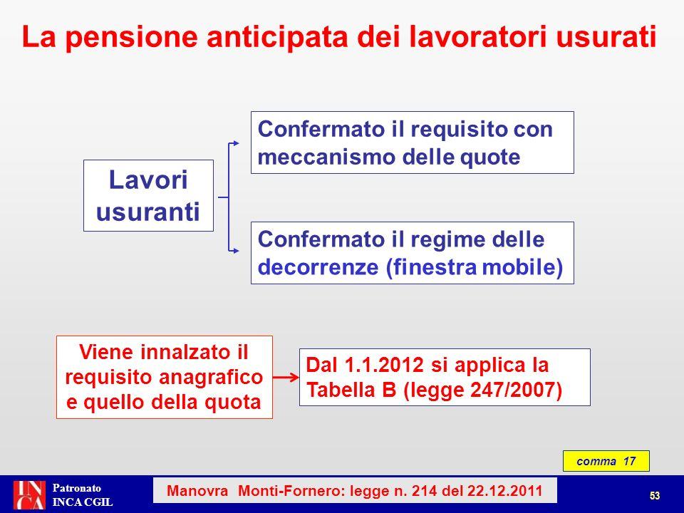 Patronato INCA CGIL Lavori usuranti Confermato il requisito con meccanismo delle quote Confermato il regime delle decorrenze (finestra mobile) Viene i