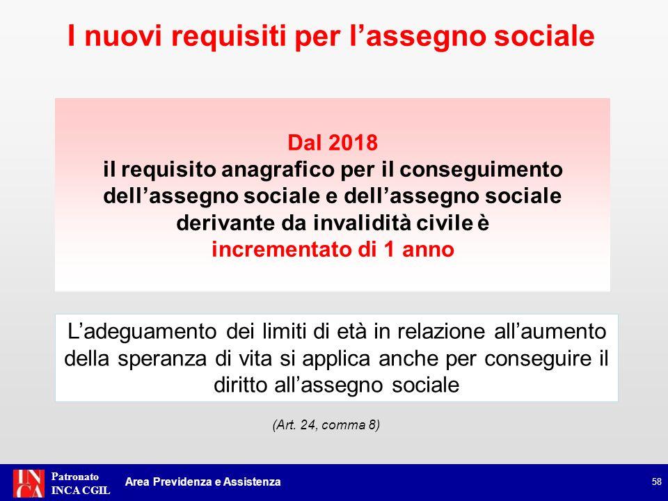 Patronato INCA CGIL Dal 2018 il requisito anagrafico per il conseguimento dellassegno sociale e dellassegno sociale derivante da invalidità civile è i