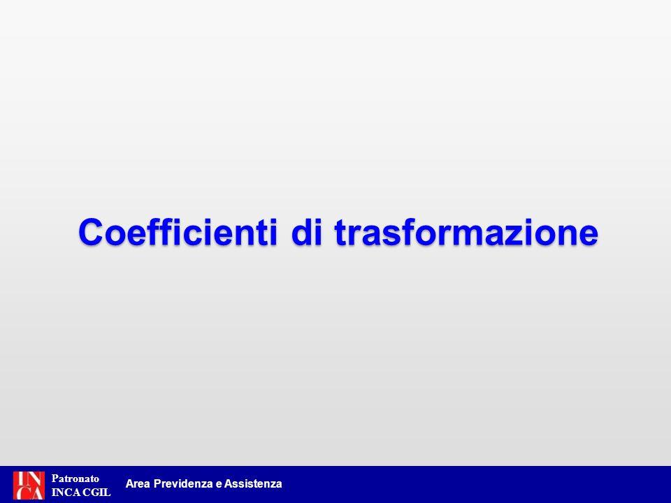 Patronato INCA CGIL Area Previdenza e Assistenza Coefficienti di trasformazione