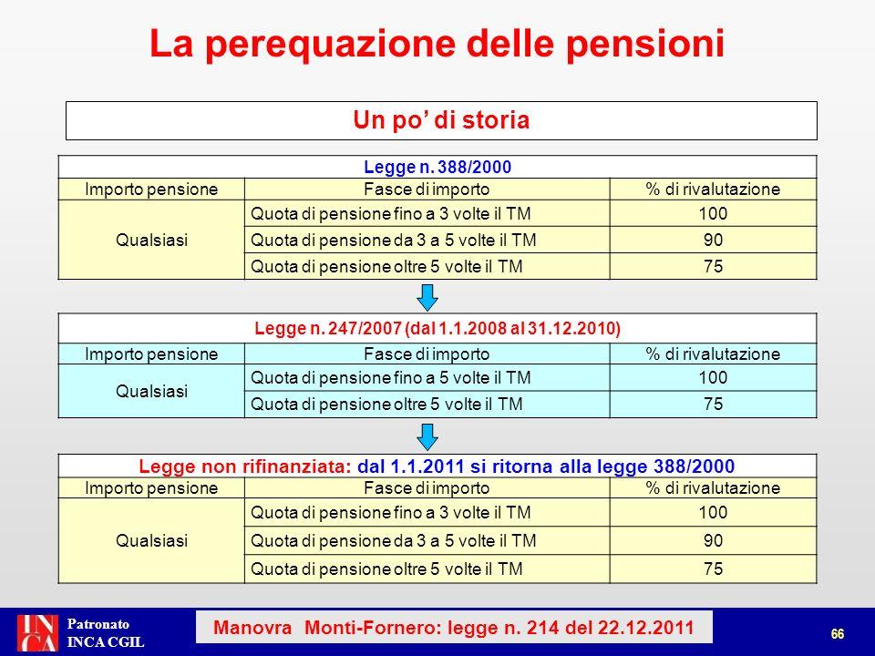 Patronato INCA CGIL Legge n. 388/2000 Importo pensioneFasce di importo% di rivalutazione Qualsiasi Quota di pensione fino a 3 volte il TM100 Quota di