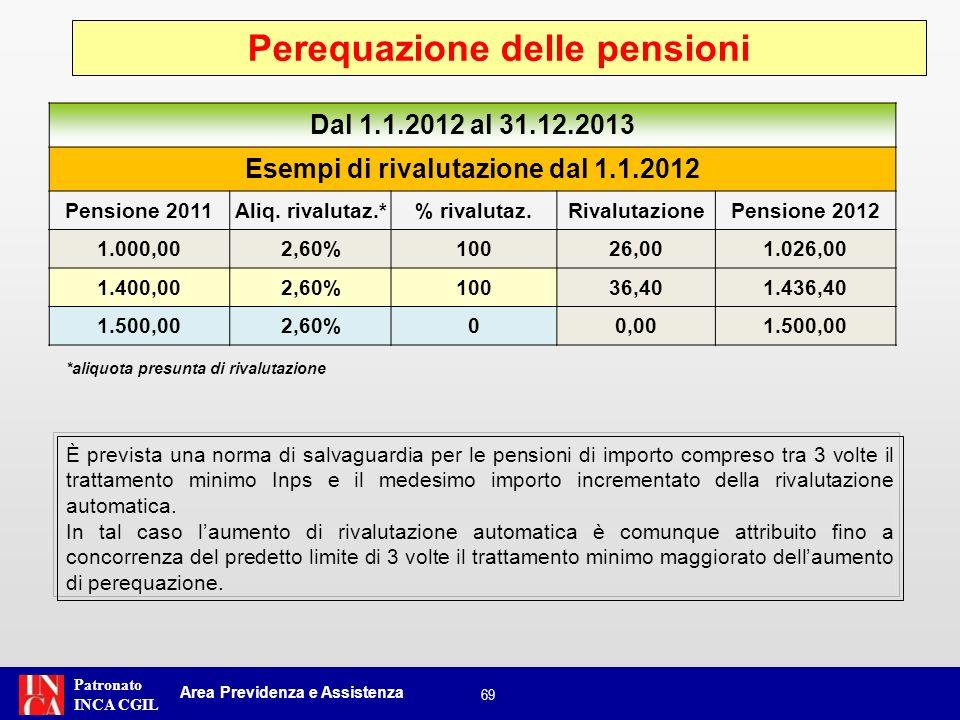 Patronato INCA CGIL È prevista una norma di salvaguardia per le pensioni di importo compreso tra 3 volte il trattamento minimo Inps e il medesimo impo