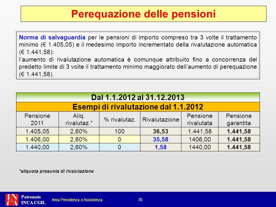 Patronato INCA CGIL Norma di salvaguardia per le pensioni di importo compreso tra 3 volte il trattamento minimo ( 1.405,05) e il medesimo importo incr