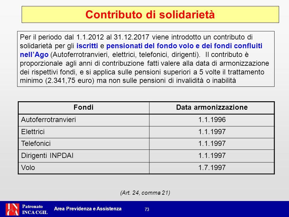 Patronato INCA CGIL 73 (Art. 24, comma 21) Contributo di solidarietà Area Previdenza e Assistenza Per il periodo dal 1.1.2012 al 31.12.2017 viene intr