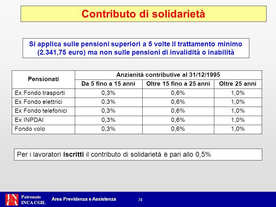 Patronato INCA CGIL 74 Contributo di solidarietà Area Previdenza e Assistenza Si applica sulle pensioni superiori a 5 volte il trattamento minimo (2.3
