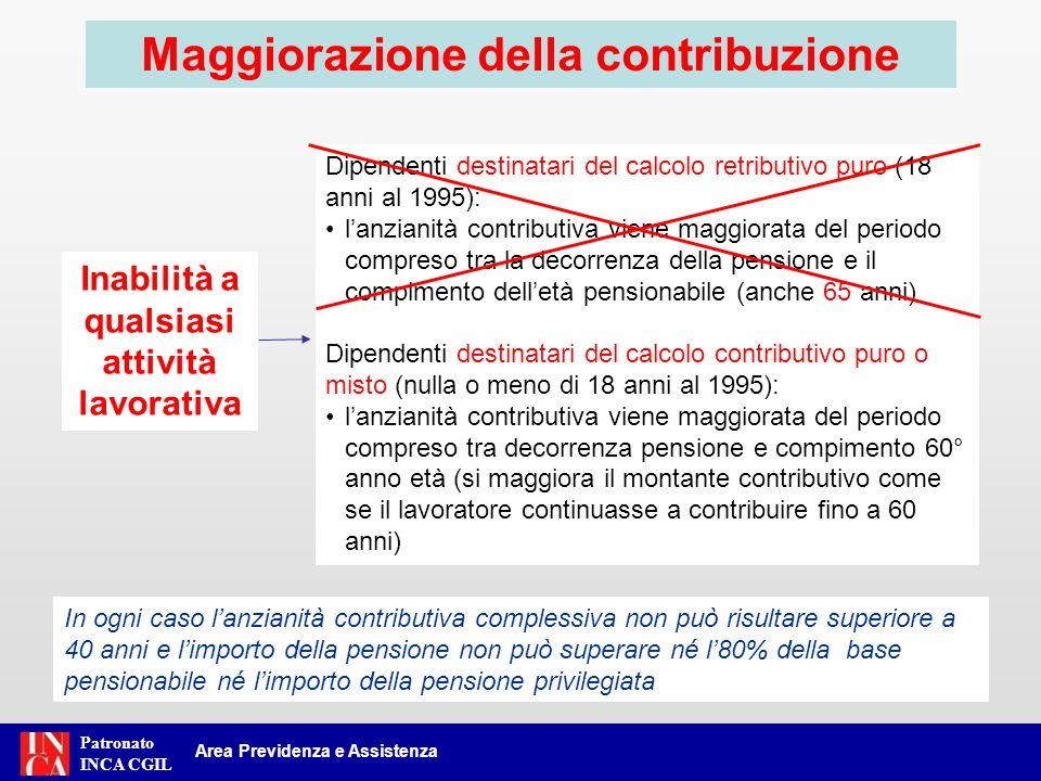 Patronato INCA CGIL Area Previdenza e Assistenza Maggiorazione della contribuzione Dipendenti destinatari del calcolo retributivo puro (18 anni al 199