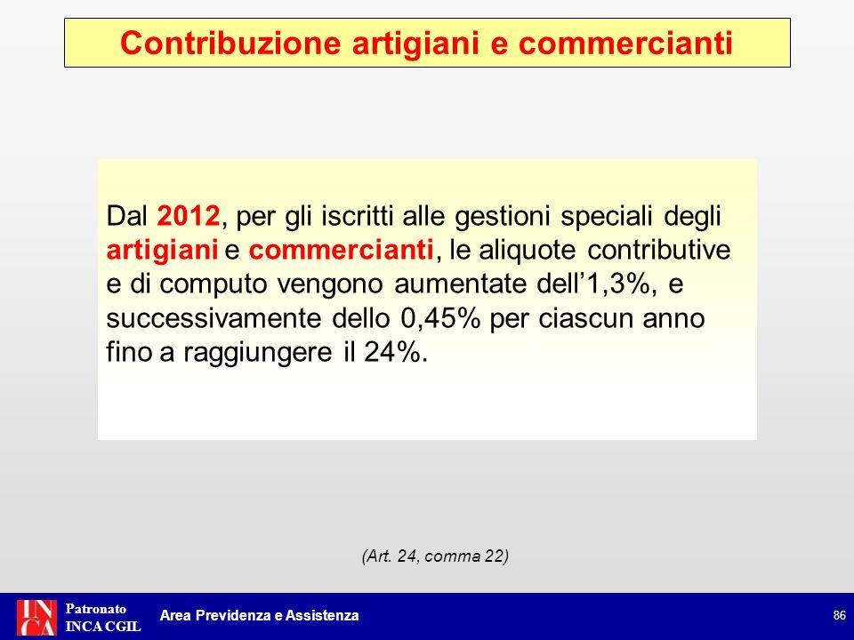 Patronato INCA CGIL Contribuzione artigiani e commercianti 86 Area Previdenza e Assistenza (Art. 24, comma 22) Dal 2012, per gli iscritti alle gestion