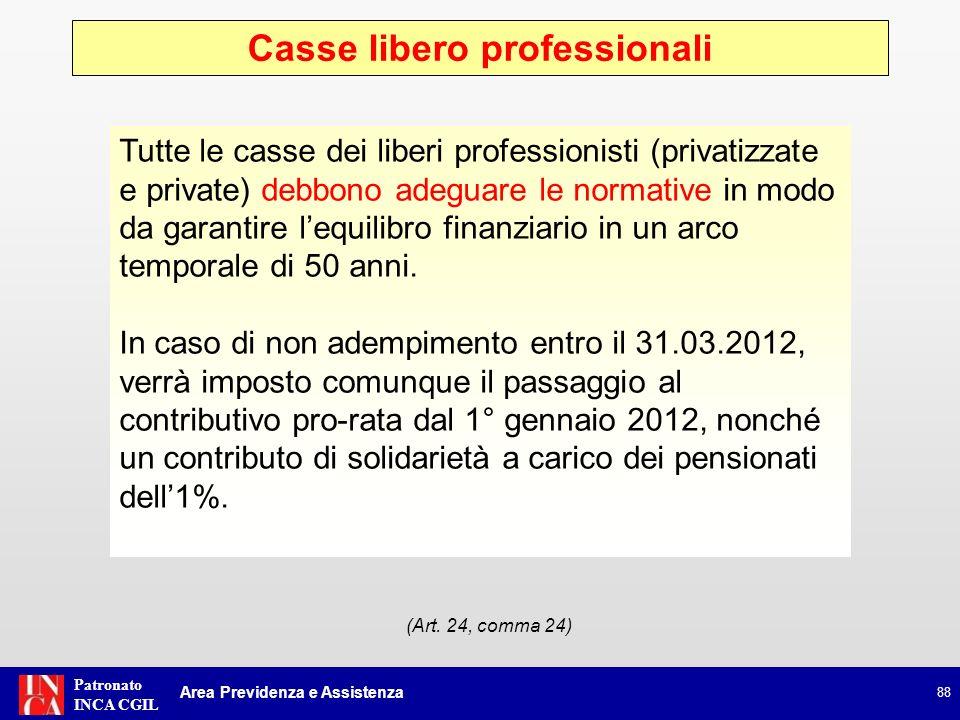 Patronato INCA CGIL Casse libero professionali 88 Area Previdenza e Assistenza (Art. 24, comma 24) Tutte le casse dei liberi professionisti (privatizz