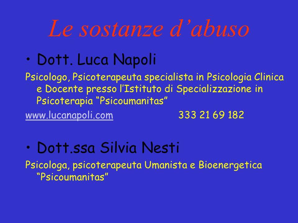 Le sostanze dabuso Dott. Luca Napoli Psicologo, Psicoterapeuta specialista in Psicologia Clinica e Docente presso lIstituto di Specializzazione in Psi