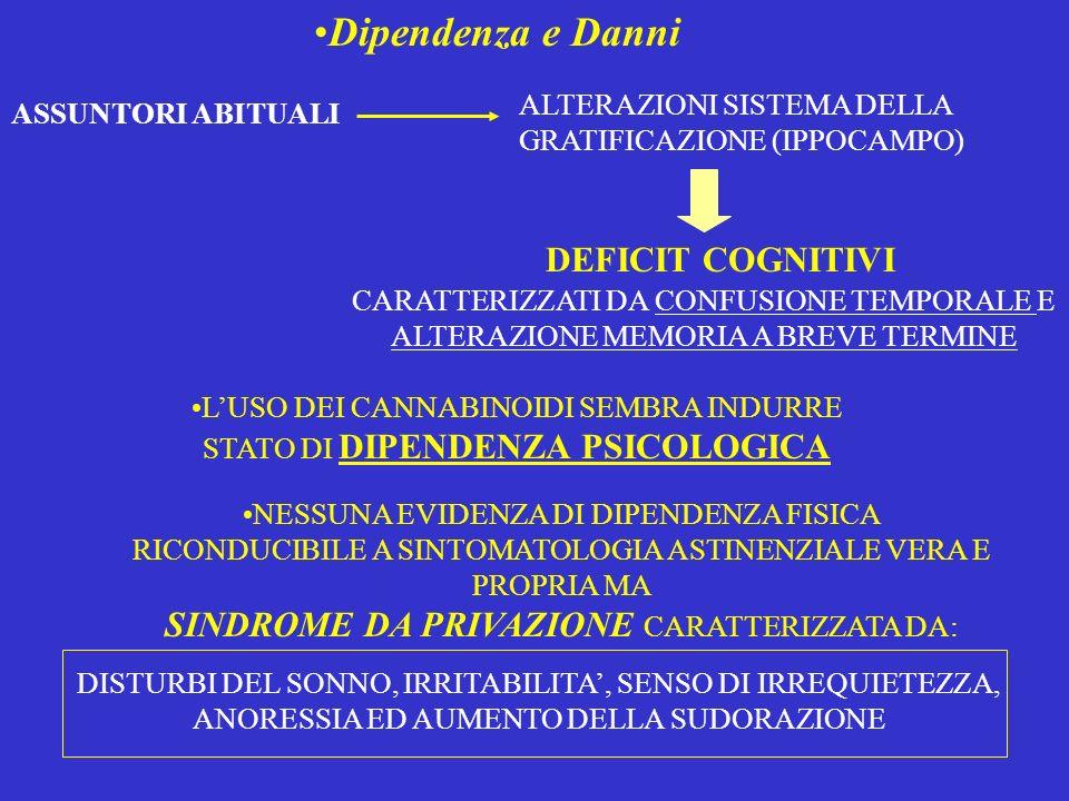 Dipendenza e Danni ASSUNTORI ABITUALI DEFICIT COGNITIVI ALTERAZIONI SISTEMA DELLA GRATIFICAZIONE (IPPOCAMPO) CARATTERIZZATI DA CONFUSIONE TEMPORALE E