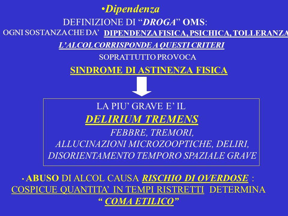 Dipendenza LALCOL CORRISPONDE A QUESTI CRITERI DEFINIZIONE DI DROGA OMS: OGNI SOSTANZA CHE DA DIPENDENZA FISICA, PSICHICA, TOLLERANZA SOPRATTUTTO PROV