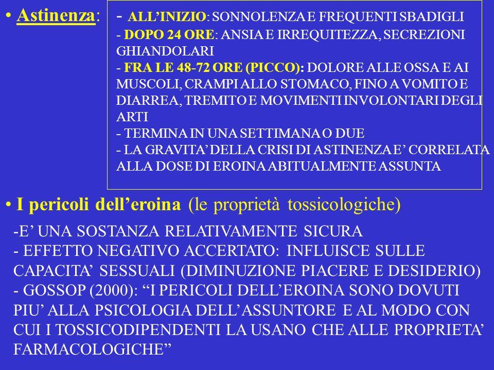 Loverdose LE CAUSE: - IL FENOMENO DELLA TOLLERANZA E IL RITORNO ALLUSO DOPO LASTINENZA - LA PERCENTUALE DI PRINCIPIO ATTIVO E IL TAGLIO ALCUNE TEORIE DANNO PIU SPAZIO AL TAGLIO, ALTRE ALLE DIFFERENZE DI PUREZZA SUL MERCATO ILLEGALE GOSSOP: LA RAGIONE PRINCIPALE E NEL MIX DI DROGHE, SPECIE EROINA E ALCOL