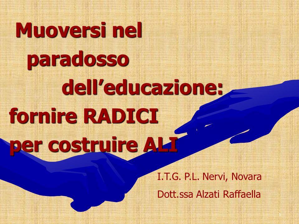 1 Muoversi nel Muoversi nel paradosso paradosso delleducazione: delleducazione: fornire RADICI per costruire ALI I.T.G. P.L. Nervi, Novara Dott.ssa Al