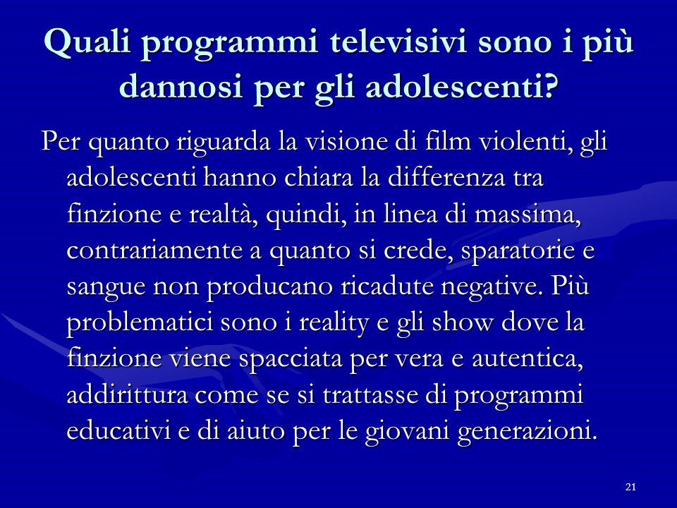 21 Quali programmi televisivi sono i più dannosi per gli adolescenti? Per quanto riguarda la visione di film violenti, gli adolescenti hanno chiara la