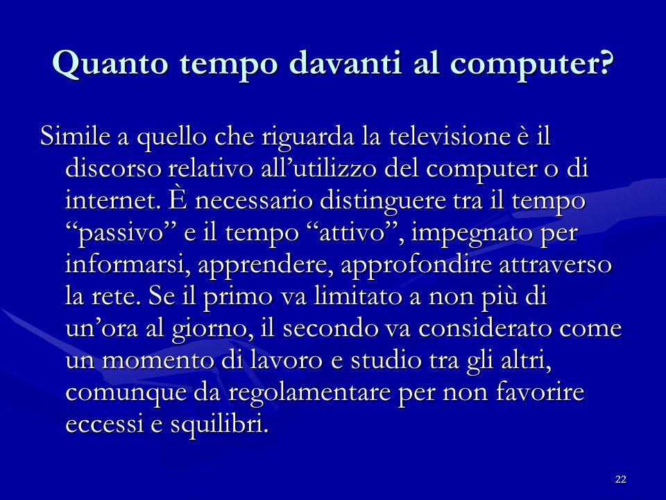 22 Quanto tempo davanti al computer? Simile a quello che riguarda la televisione è il discorso relativo allutilizzo del computer o di internet. È nece