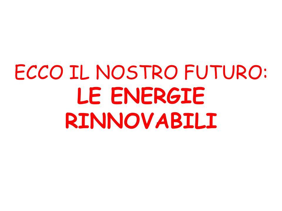 ECCO IL NOSTRO FUTURO: LE ENERGIE RINNOVABILI