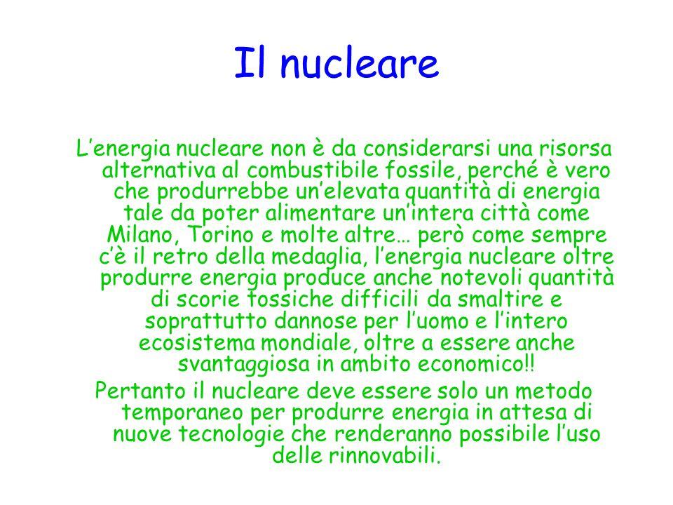Il nucleare Lenergia nucleare non è da considerarsi una risorsa alternativa al combustibile fossile, perché è vero che produrrebbe unelevata quantità