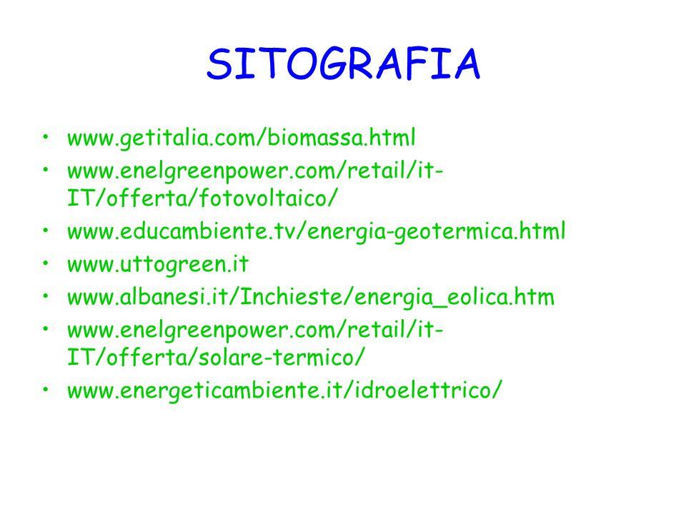 SITOGRAFIA www.getitalia.com/biomassa.html www.enelgreenpower.com/retail/it- IT/offerta/fotovoltaico/ www.educambiente.tv/energia-geotermica.html www.