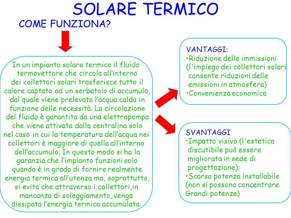 SOLARE TERMICO COME FUNZIONA? In un impianto solare termico il fluido termovettore che circola allinterno dei collettori solari trasferisce tutto il c