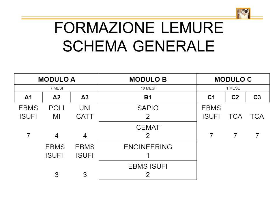 FORMAZIONE LEMURE SCHEMA GENERALE MODULO AMODULO BMODULO C 7 MESI10 MESI1 MESE A1A2A3B1C1C2C3 EBMS ISUFI POLI MI UNI CATT SAPIO 2 EBMS ISUFITCA 744 CEMAT 2777 EBMS ISUFI EBMS ISUFI ENGINEERING 1 33 EBMS ISUFI 2