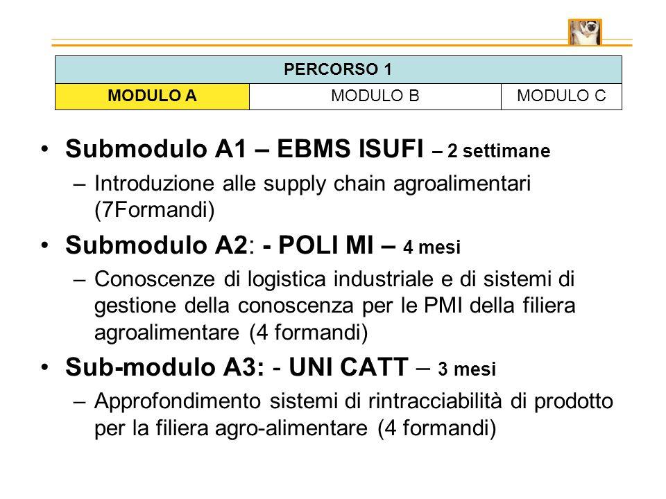 Submodulo A1 – EBMS ISUFI – 2 settimane –Introduzione alle supply chain agroalimentari (7Formandi) Submodulo A2: - POLI MI – 4 mesi –Conoscenze di logistica industriale e di sistemi di gestione della conoscenza per le PMI della filiera agroalimentare (4 formandi) Sub-modulo A3: - UNI CATT – 3 mesi –Approfondimento sistemi di rintracciabilità di prodotto per la filiera agro-alimentare (4 formandi) MODULO AMODULO BMODULO C PERCORSO 1