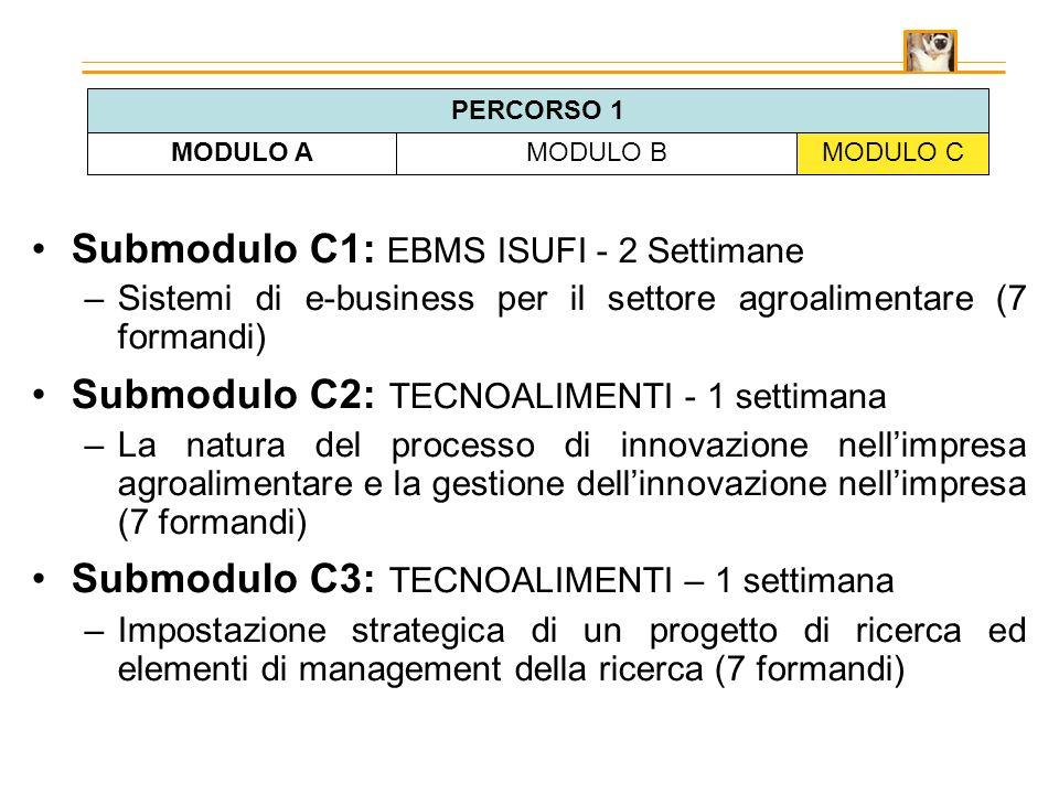 Submodulo C1: EBMS ISUFI - 2 Settimane –Sistemi di e-business per il settore agroalimentare (7 formandi) Submodulo C2: TECNOALIMENTI - 1 settimana –La natura del processo di innovazione nellimpresa agroalimentare e la gestione dellinnovazione nellimpresa (7 formandi) Submodulo C3: TECNOALIMENTI – 1 settimana –Impostazione strategica di un progetto di ricerca ed elementi di management della ricerca (7 formandi) MODULO AMODULO BMODULO C PERCORSO 1
