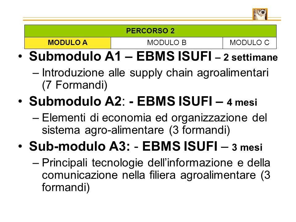 Submodulo A1 – EBMS ISUFI – 2 settimane –Introduzione alle supply chain agroalimentari (7 Formandi) Submodulo A2: - EBMS ISUFI – 4 mesi –Elementi di economia ed organizzazione del sistema agro-alimentare (3 formandi) Sub-modulo A3: - EBMS ISUFI – 3 mesi –Principali tecnologie dellinformazione e della comunicazione nella filiera agroalimentare (3 formandi) MODULO AMODULO BMODULO C PERCORSO 2