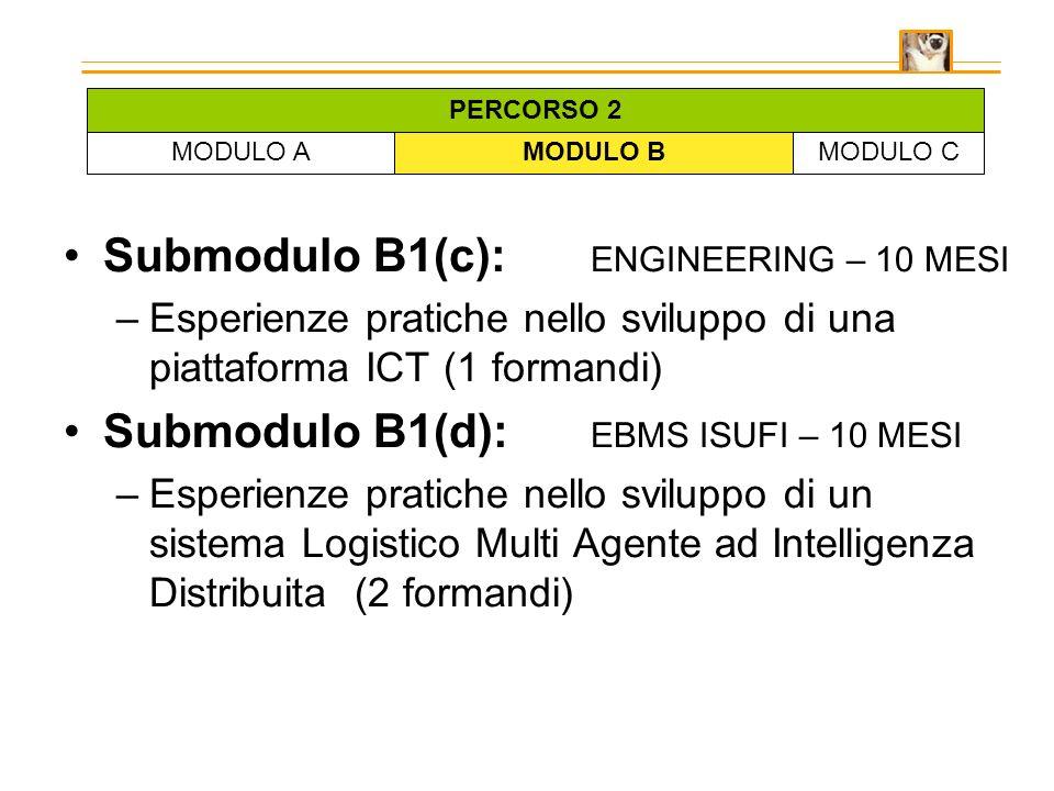 Submodulo B1(c): ENGINEERING – 10 MESI –Esperienze pratiche nello sviluppo di una piattaforma ICT (1 formandi) Submodulo B1(d): EBMS ISUFI – 10 MESI –Esperienze pratiche nello sviluppo di un sistema Logistico Multi Agente ad Intelligenza Distribuita (2 formandi) MODULO AMODULO BMODULO C PERCORSO 2