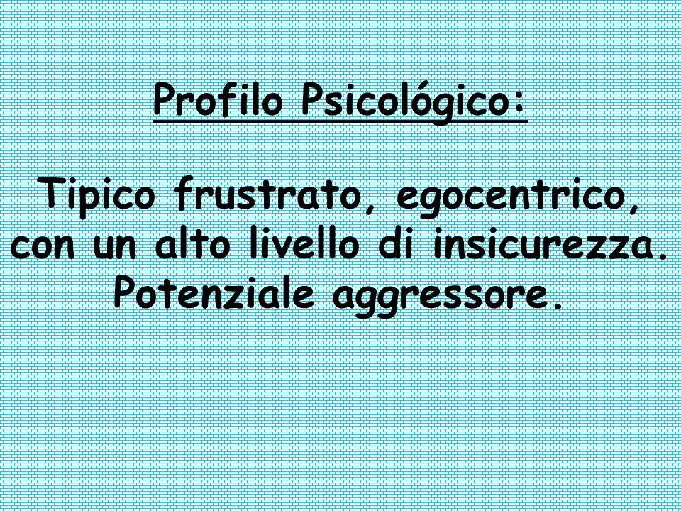 Profilo Psicológico: Tipico frustrato, egocentrico, con un alto livello di insicurezza. Potenziale aggressore.