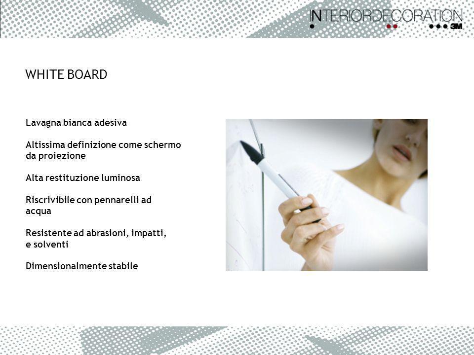 WHITE BOARD Lavagna bianca adesiva Altissima definizione come schermo da proiezione Alta restituzione luminosa Riscrivibile con pennarelli ad acqua Re