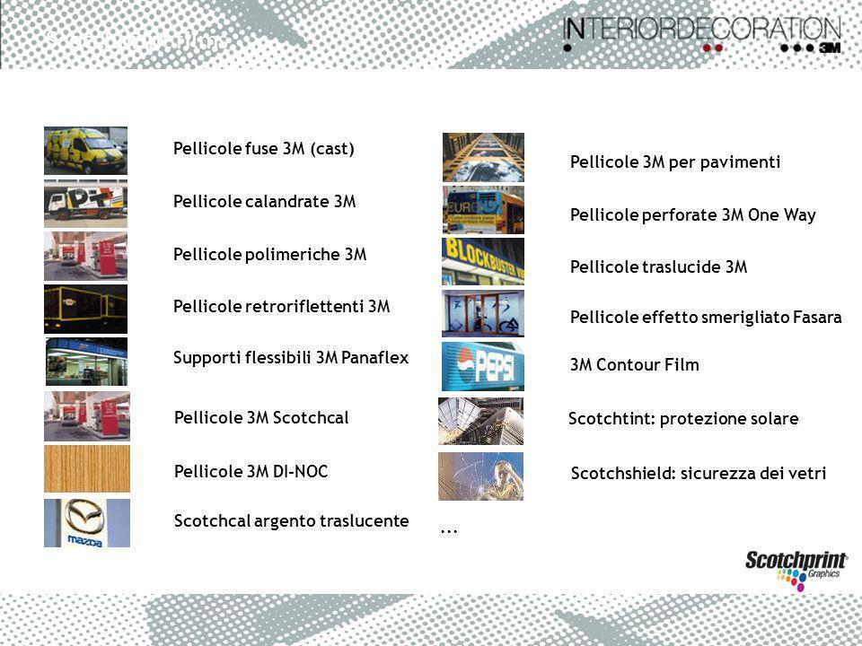 Pellicole fuse 3M (cast) Pellicole calandrate 3M Pellicole polimeriche 3M Pellicole retroriflettenti 3M Supporti flessibili 3M Panaflex Pellicole 3M p