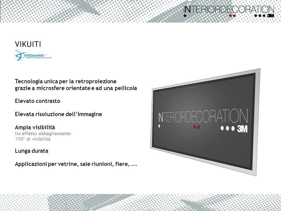 VIKUITI Tecnologia unica per la retroproiezione grazie a microsfere orientate e ad una pellicola Elevato contrasto Elevata risoluzione dellimmagine Am