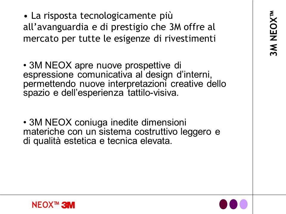 NEOX 3M NEOX La risposta tecnologicamente più allavanguardia e di prestigio che 3M offre al mercato per tutte le esigenze di rivestimenti 3M NEOX apre