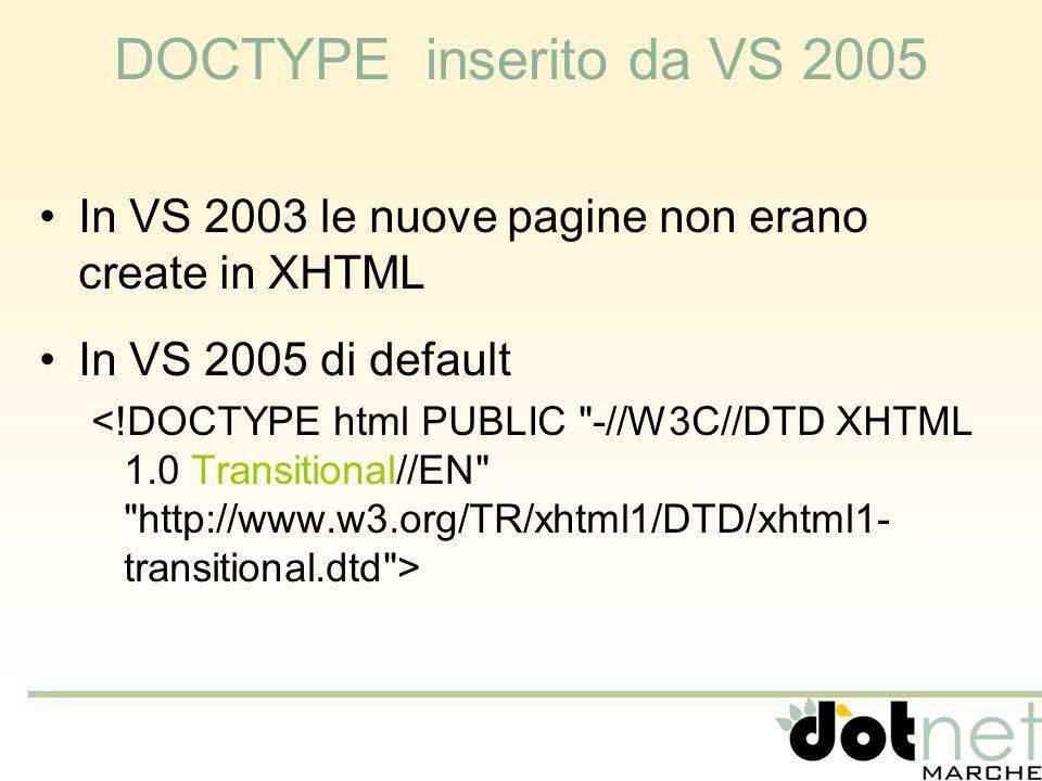 DOCTYPE inserito da VS 2005 In VS 2003 le nuove pagine non erano create in XHTML In VS 2005 di default