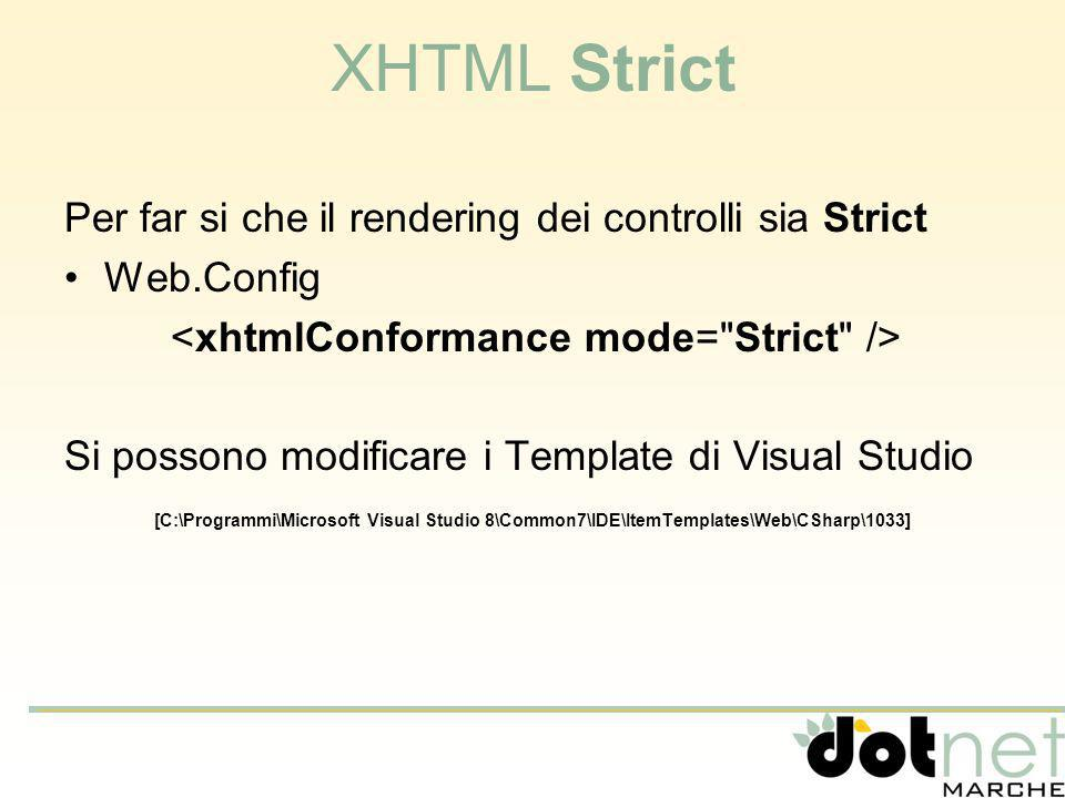 XHTML Strict Per far si che il rendering dei controlli sia Strict Web.Config Si possono modificare i Template di Visual Studio [C:\Programmi\Microsoft