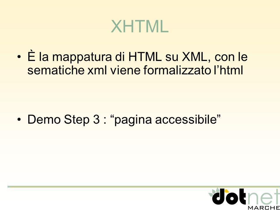 XHTML È la mappatura di HTML su XML, con le sematiche xml viene formalizzato lhtml Demo Step 3 : pagina accessibile