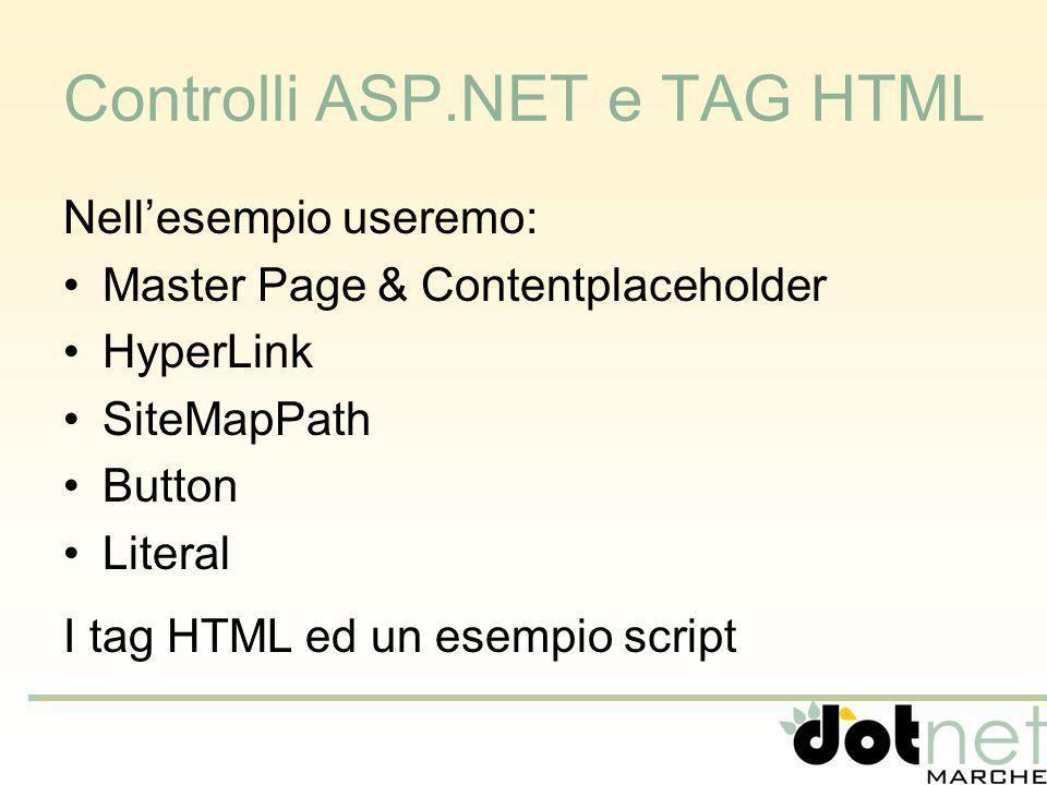 Controlli ASP.NET e TAG HTML Nellesempio useremo: Master Page& Contentplaceholder HyperLink SiteMapPath Button Literal I tag HTML ed un esempio script