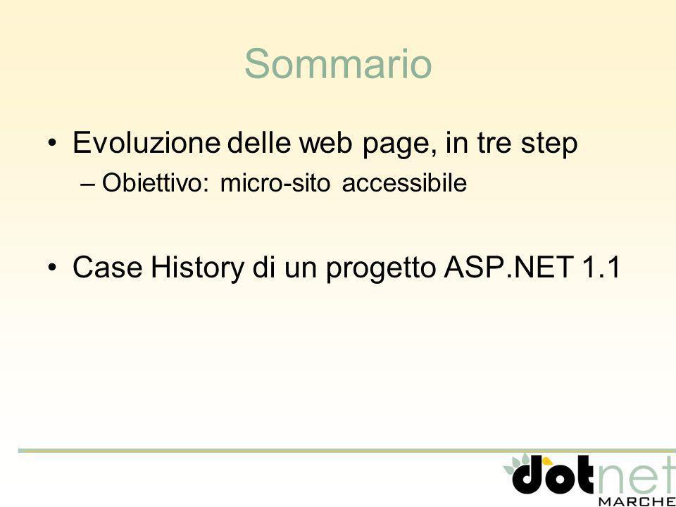 Sommario Evoluzione delle web page, in tre step –Obiettivo: micro-sito accessibile Case History di un progetto ASP.NET 1.1