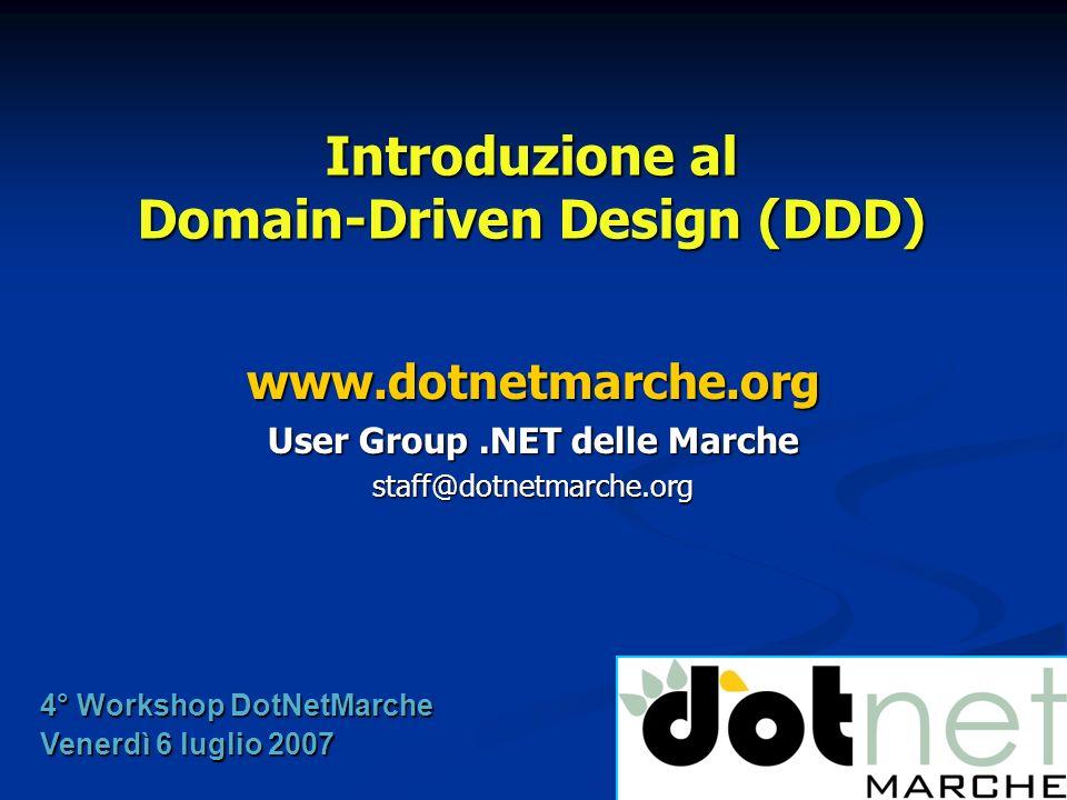 Introduzione al DDD Giancarlo Sudano Introduzione al DDD Giancarlo Sudano Domain Model e SOA Domain Model e SOA Gian Maria Ricci Gian Maria Ricci Ask the Expert Ask the Expert Cena Cena Agenda