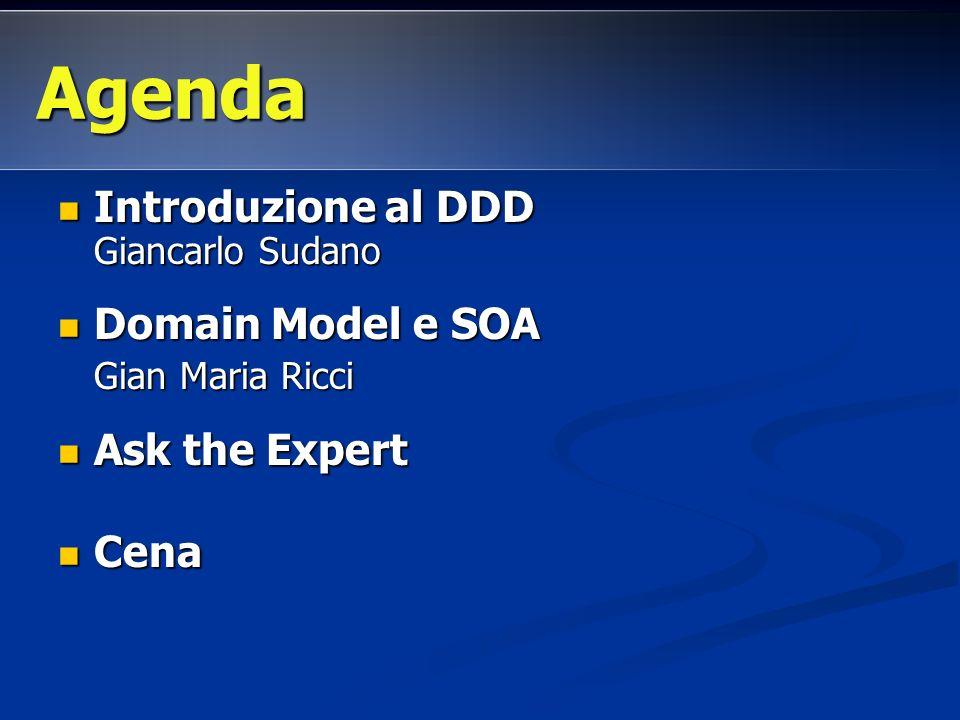 Introduzione al DDD Giancarlo Sudano Introduzione al DDD Giancarlo Sudano Domain Model e SOA Domain Model e SOA Gian Maria Ricci Gian Maria Ricci Ask