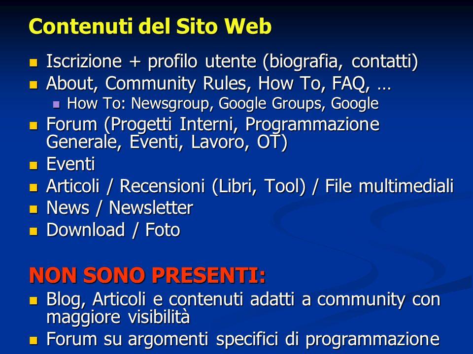 Contenuti del Sito Web Iscrizione + profilo utente (biografia, contatti) Iscrizione + profilo utente (biografia, contatti) About, Community Rules, How