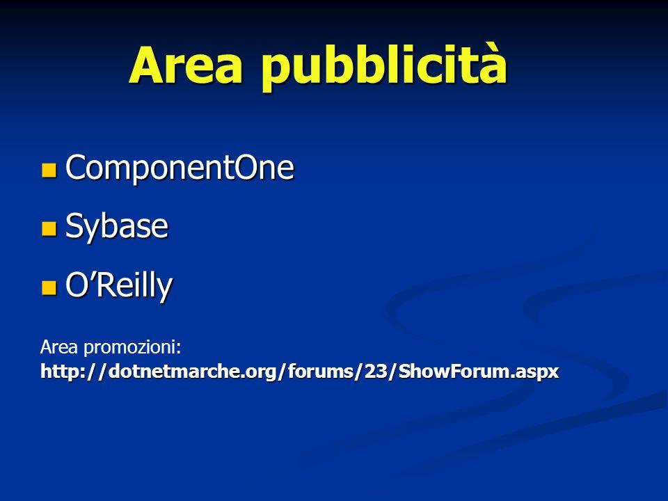 ComponentOne ComponentOne Sybase Sybase OReilly OReilly Area promozioni:http://dotnetmarche.org/forums/23/ShowForum.aspx Area pubblicità