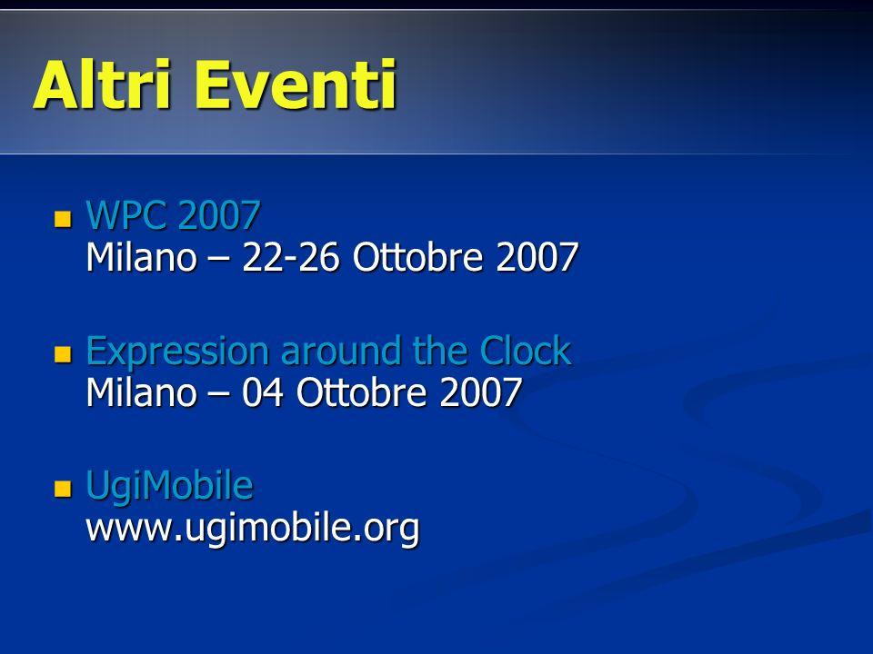 WPC 2007 Milano – 22-26 Ottobre 2007 WPC 2007 Milano – 22-26 Ottobre 2007 Expression around the Clock Milano – 04 Ottobre 2007 Expression around the C